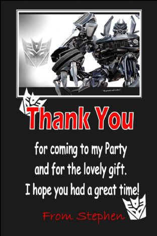 Personalised Transformers Thank You Cards